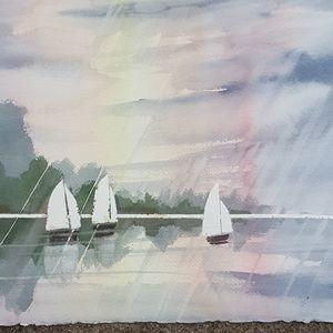 Sailboats in the rain original watercolor